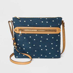 Polka Dot Messenger Crossbody Bag - Navy Blue